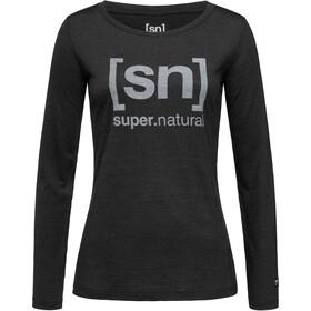 super.natural Essential I.D. LS Shirt Women jet black melange/vapor grey logo